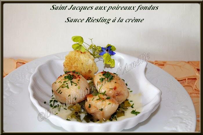 La table lorraine d 39 amelie saint jacques aux poireaux sauce au riesling la cr me - Saint jacques au four ...