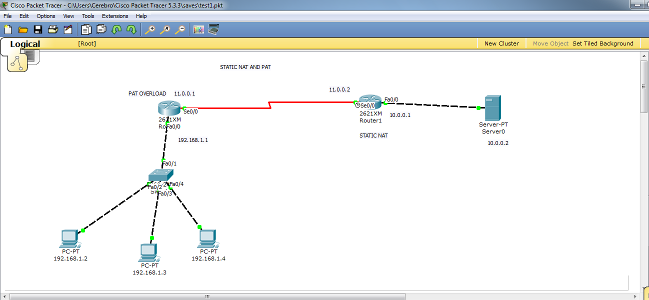 NAT & PAT configuration on Cisco Packet tracer