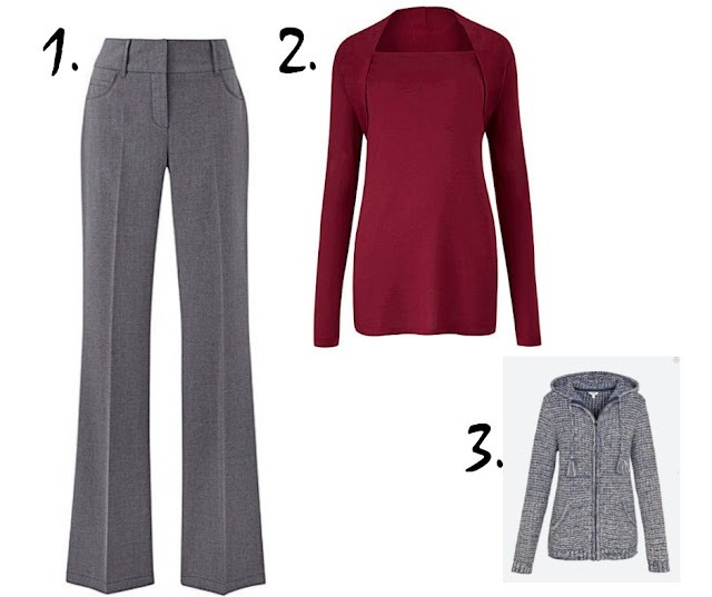 grey trousers, red top, blue cardigan on white background
