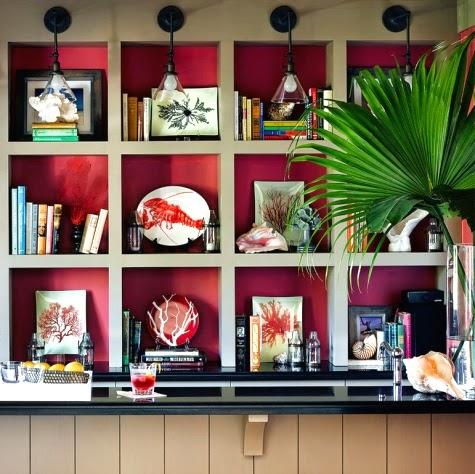 pink painted bookshelf