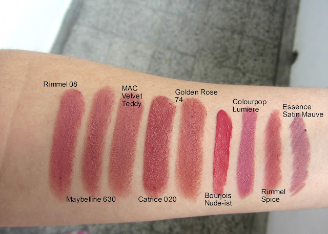kylie jenner lips swatches rimmel 08 maybelline 630 catrice 020 mac velvet teddy bourjois nudeist rimmel spice lip pencil essence satin mauve colourpop lumiere