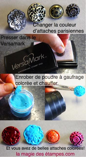 tutoriel changer couleur attaches parisiennes de Stampin' Up!