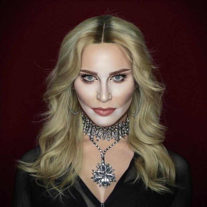 Só com maquiagem, drag queen se transforma em qualquer celebridade