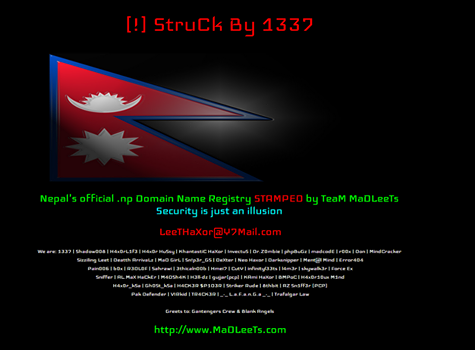 hacked by madleets, hacked by leet, Nepal Domain Registry