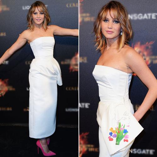 """addb78556 Jennifer escolheu um mídi Dior para a première de """"Jogos Vorazes"""" no  festival de Cannes, neste domingo (19.05). A jovem atriz escolheu um tomara  que caia ..."""
