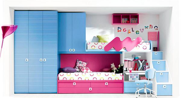 10 Model Tempat Tidur Minimalis Untuk Anak Perempuan Bertema Pink ! - Model Yang Menyatu Dengan Rak dan Lemari