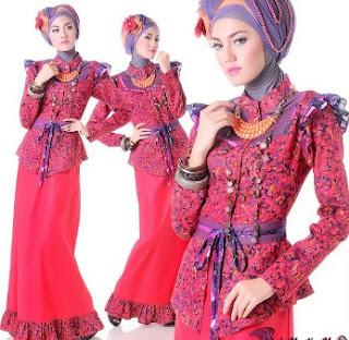 Model dress batik muslim untuk remaja lengan panjang
