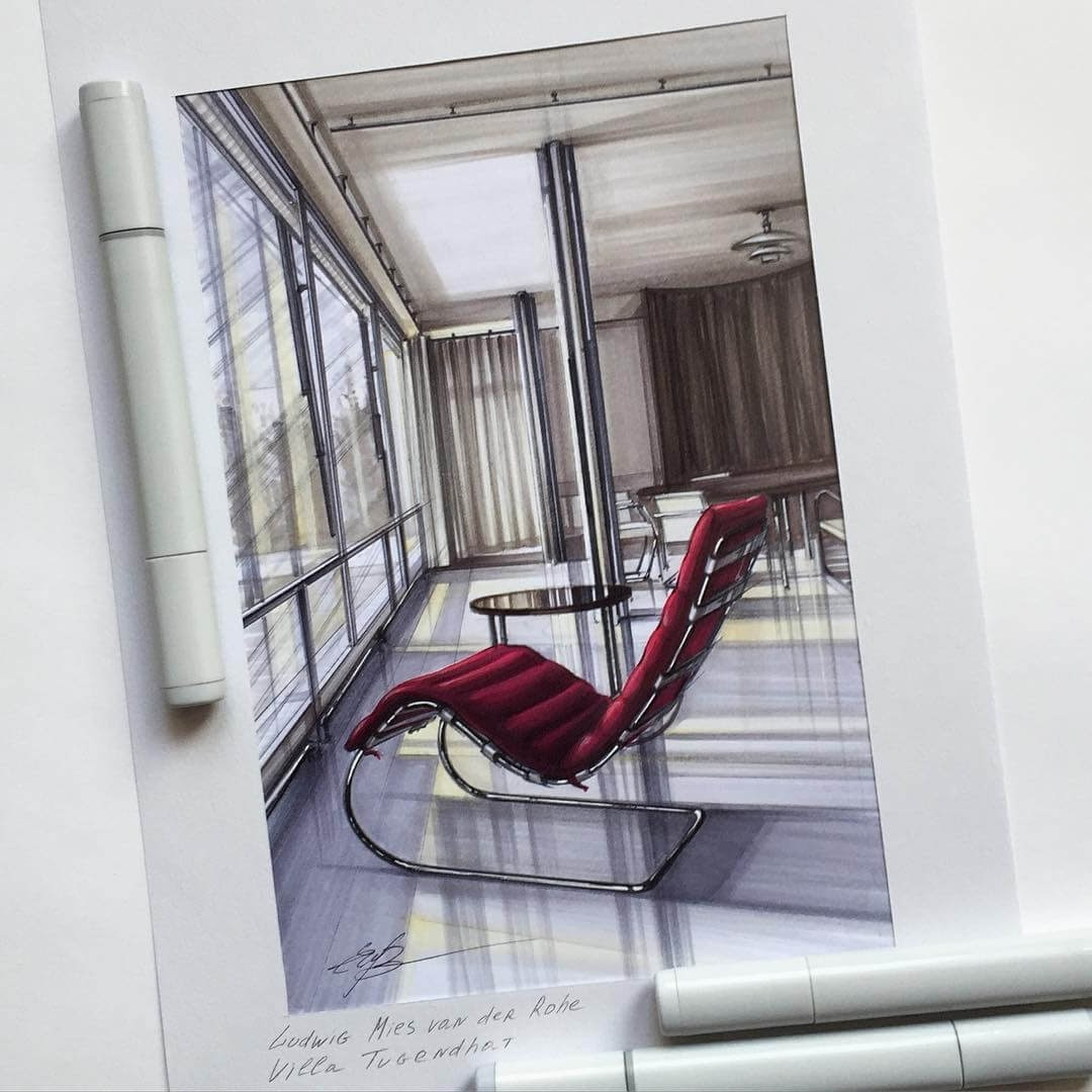 10-Ludwig-Mies-van-der-Rohe-Elena-Ivannikova-Modern-and-Light-Interior-Design-Drawings-www-designstack-co