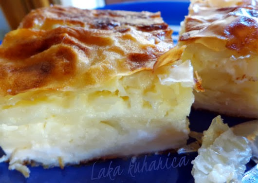 Sour milk and feta cheese phyllo pie by Laka kuharica: fluffy, delicious and satisfying.