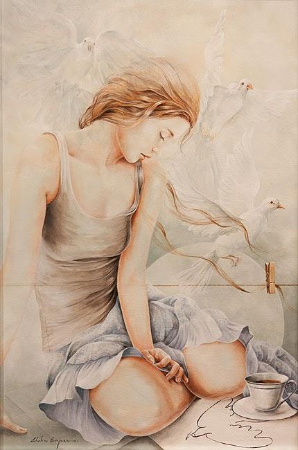 Café com Pombos e Picasso - Chelìn Sanjuan e todo encanto em suas pinturas ~ Pintor espanhol