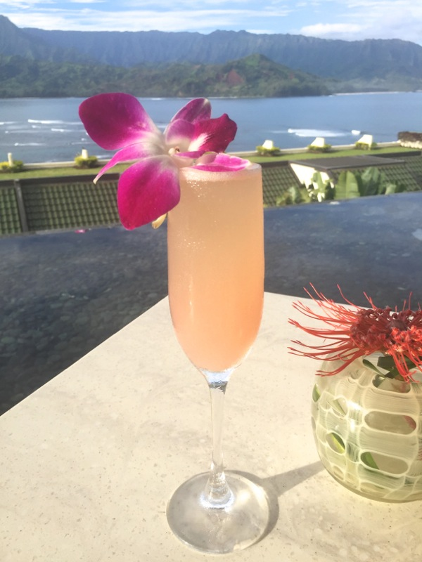 Guava mimosa cocktail Kauai