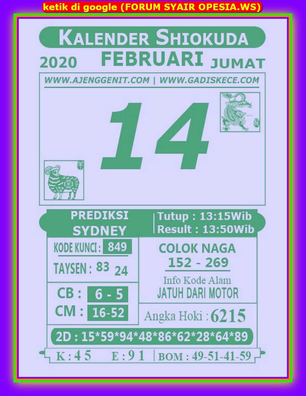 Kode syair Sydney Jumat 14 Februari 2020 70