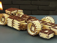 Racing car from matches
