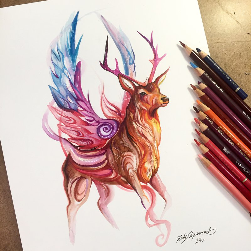 14-Magic-Stag-Katy-Lipscomb-Colourful-Drawings-and-Illustrations-www-designstack-co