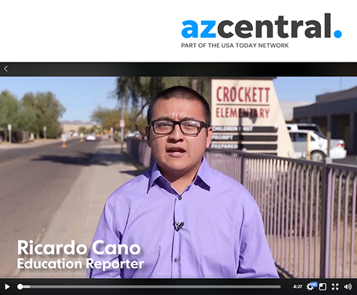 snapshot of azcentral video report featuring Ricardo Cano reporting on camera.