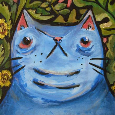 Blue Cats Illustration Painting Street Art Berriblue