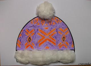 czapka w skandynawskei wzory ozdobiona watą