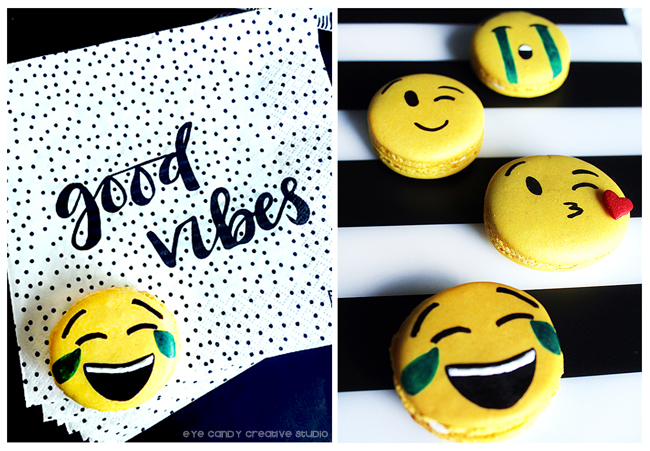 #cheeky, good vibes, emoji macaron, emoji birthday party ideas