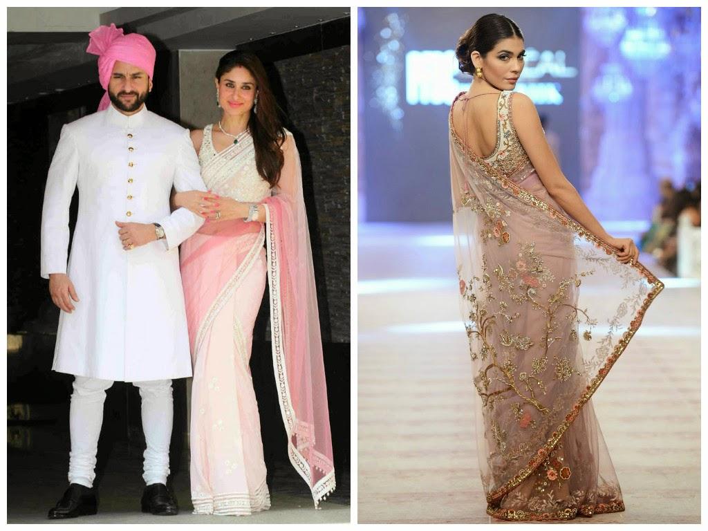 Kareena Kapoor in a Manish Malhotra sari, Misha Lakhani sari
