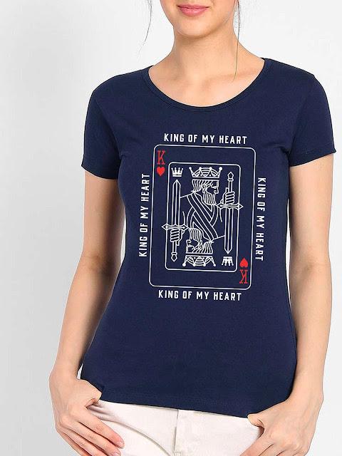 Women King Of My Heart Blue T-shirt
