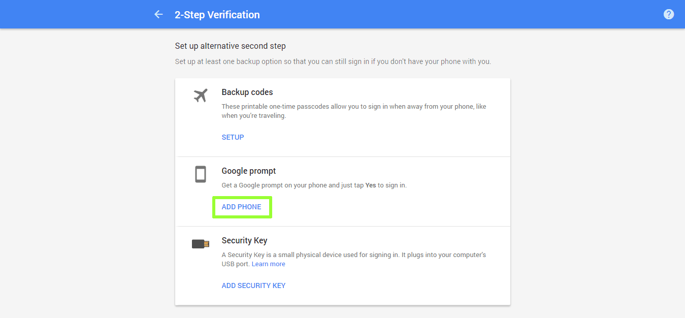 Google 2 factor authentication settings page