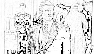 Pierce Brosnan as James Bond coloring pages jamesbondreview.filminspector.com