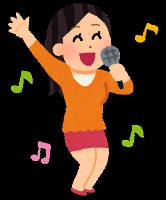 カラオケを歌う女性のイラスト