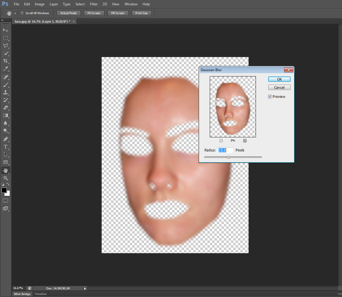 using the blur tool to airbrush