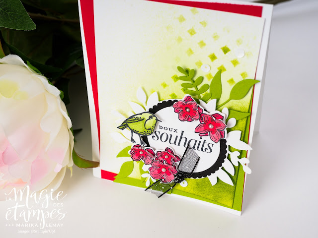 Carte de voeux Stampin' Up! faite avec le jeu d'étampes cadres fleuris et Plumes et givre