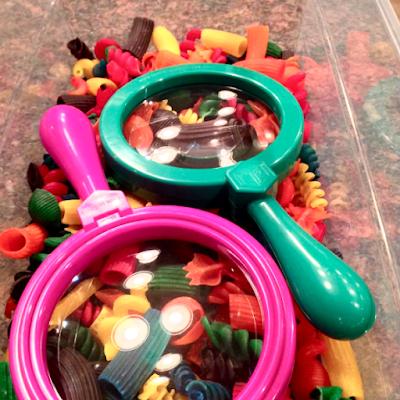 colorful pasta bin