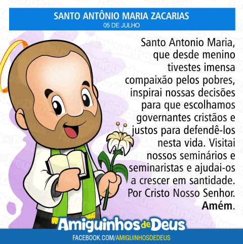 Santo Antônio Maria Zacarias para colorir