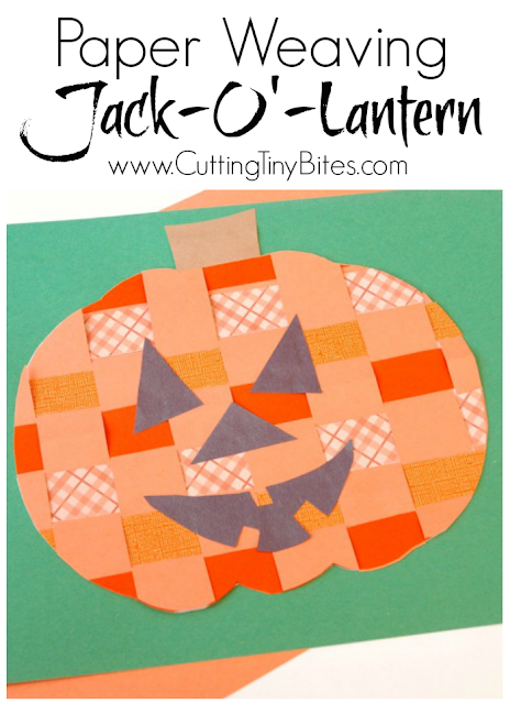 Easy fall or Halloween craft for kids. Paper weaving pumpkin or jack-o'-lantern. Great fine motor work for preschool or elementary!