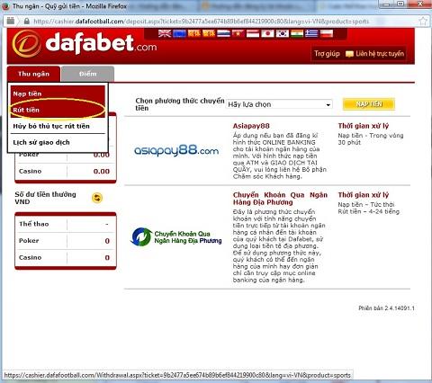 Đăng nhập vào tài khoản Dafabet