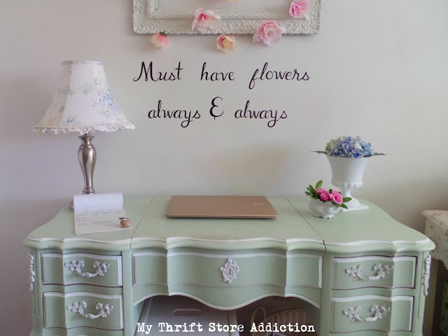 thrifty floral inspired office nook