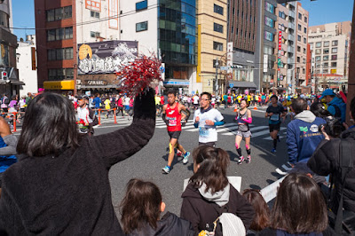 Rah-rah for the runners, in Asakusabashi, at the Tokyo Marathon 2017.
