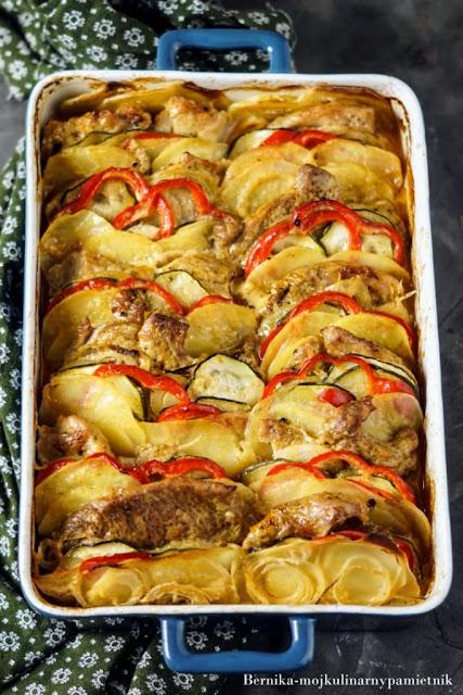 zapiekanka, lopatka, mieso, ziemniaki, obiad, bernika, kulinarny pamietnik