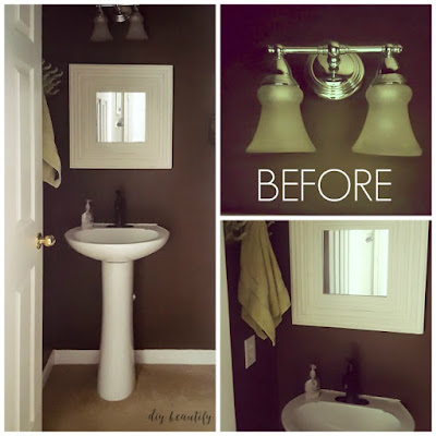 This bathroom makeover was accomplished on a tiny budget! New paint, flooring and spray painted hardware give this tiny bathroom a fresh, modern feel. Get all the details at diy beautify!