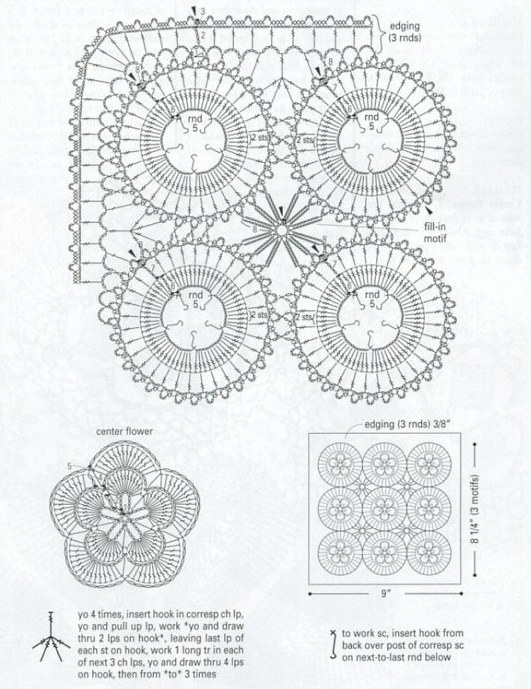Схема мотив крючком