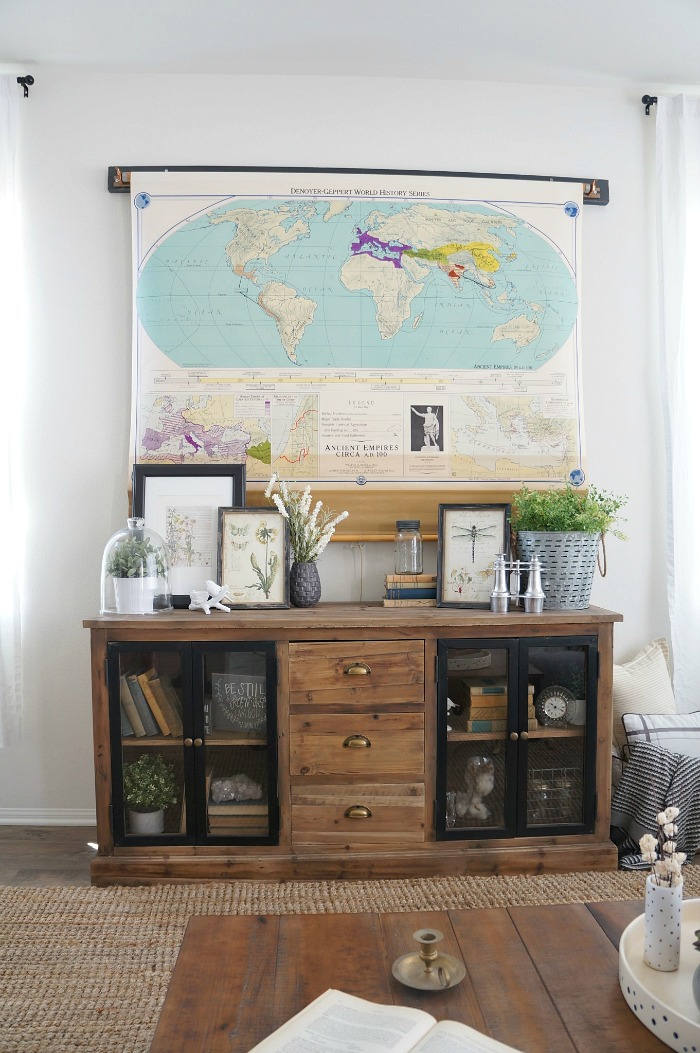 Hide a TV with a vintage pull down map