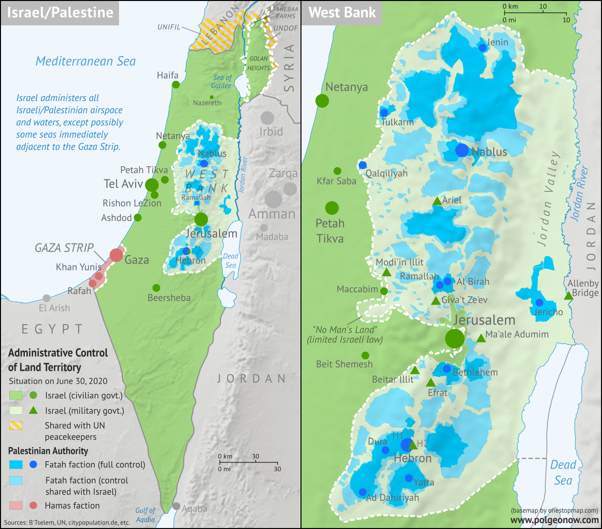 Who controls Palestine and Israel's claimed territories today (June 30, 2020), just before Israel's planned annexation of parts of the West Bank? Also file under: Palestine controlled area map. Includes bigger West Bank map (Areas A, B, C). Map also includes Gaza Strip, Golan Heights, major cities and Israeli settlements, UN peacekeeper deployments (UNIFIL and UNDOF), no man's land, Golan Heights buffer zone (area of separation, AOS), and Shebaa Farms. Colorblind accessible.