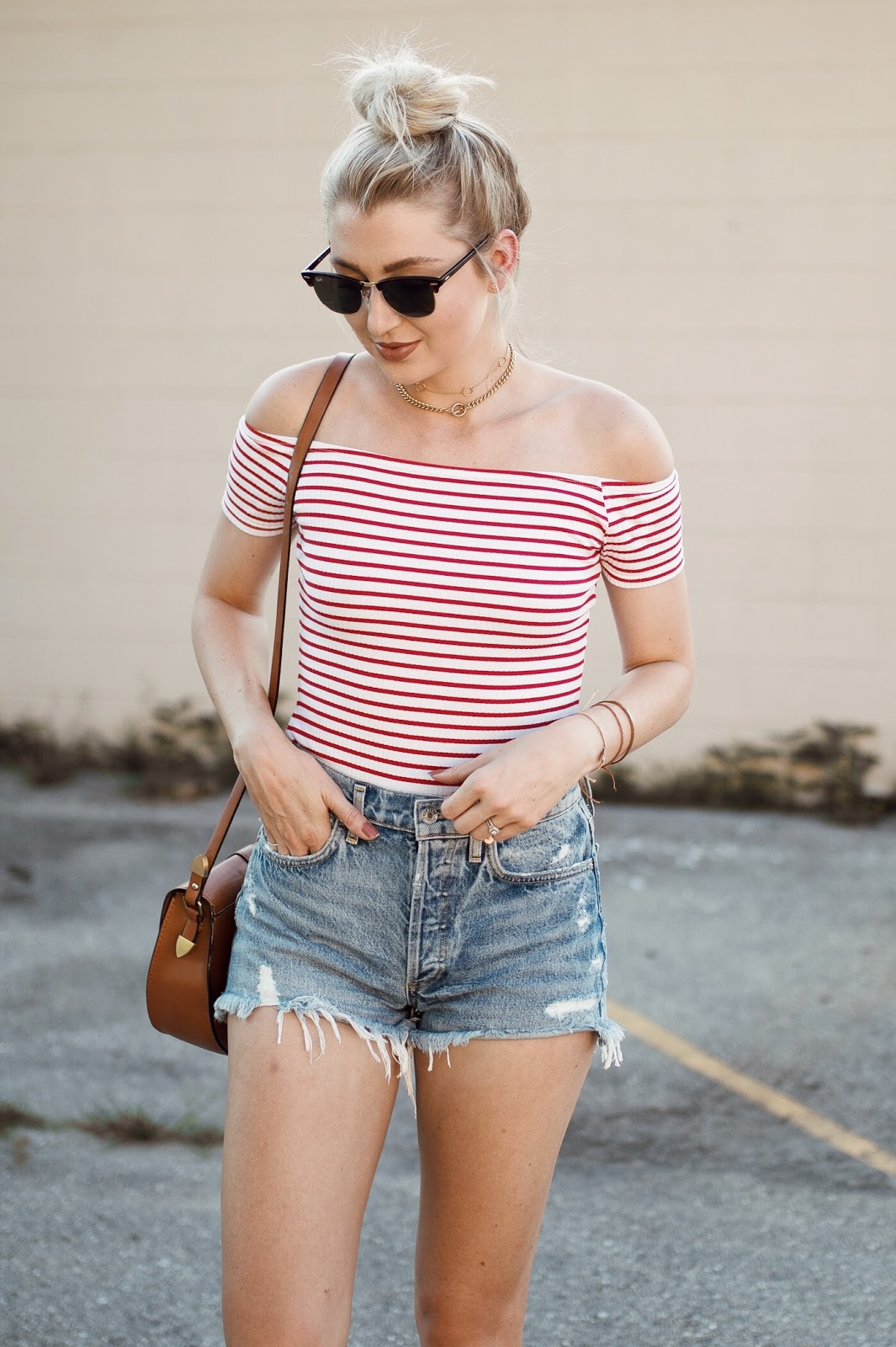 off-the-shoulder + cutoffs
