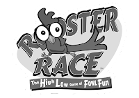Rooster Race black and white logo for instructions by Imagine That! Design