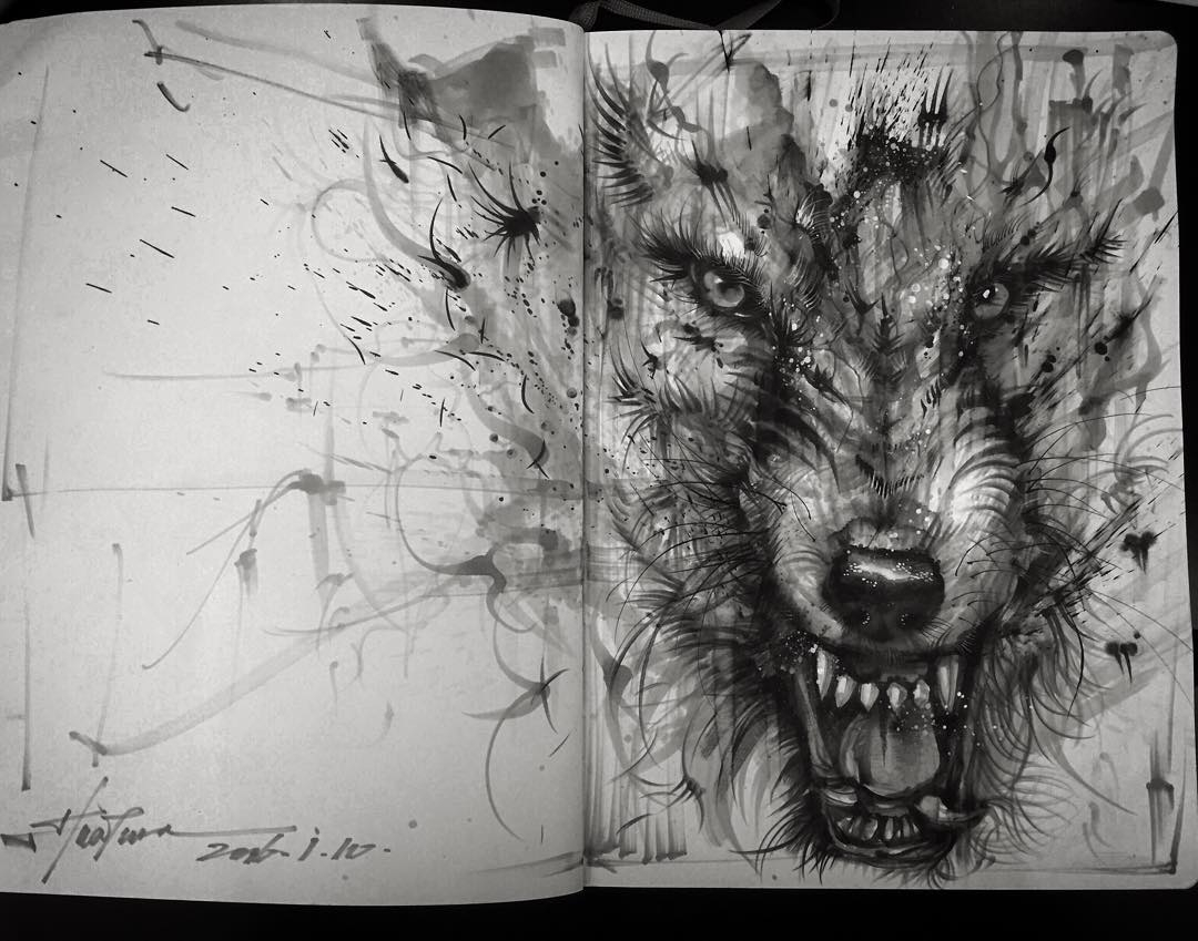 03-Wolf-Sketch-Hua-Tunan-Animal-Sketch-Drawings-and-Mural-Paintings-www-designstack-co