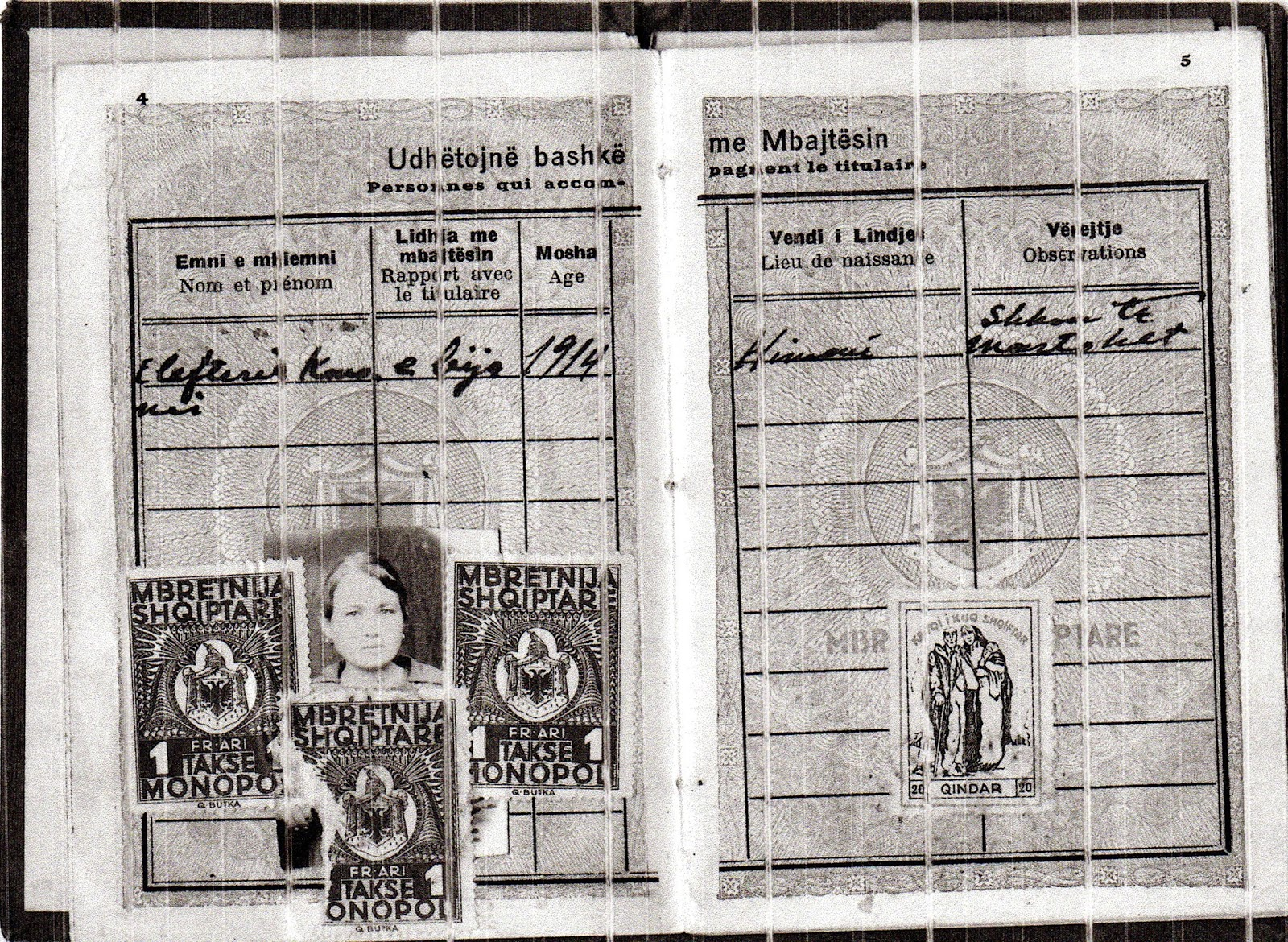 Ελευθερία Κονόμη – αλβανικό διαβατήριο