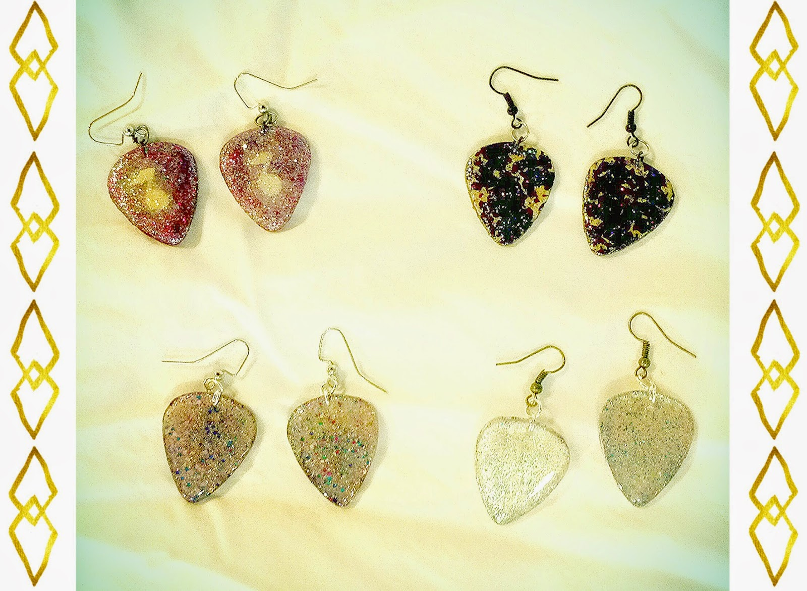 Mega Glitter Guitar Pick Earrings!