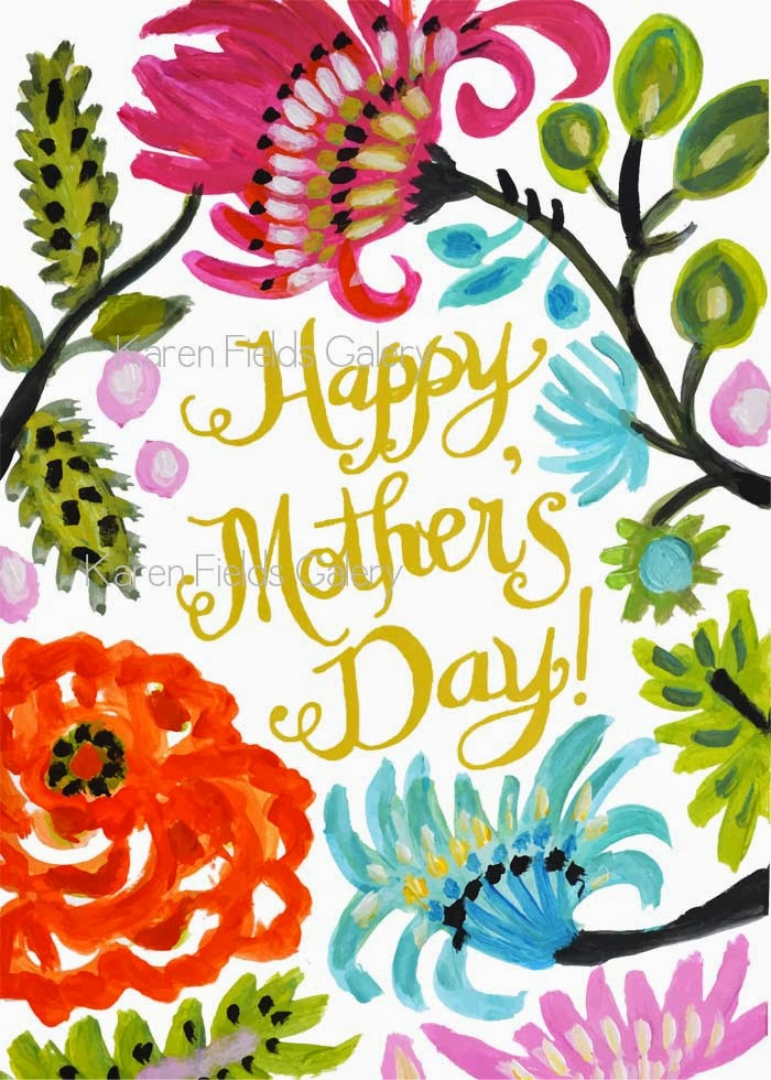 Mother S Day Card With Envelope Template Digital Bohemian Flowers Hand Lettering
