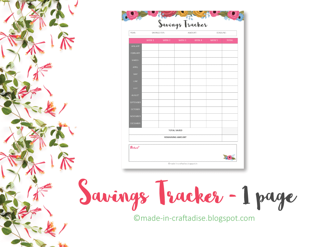 Savings Tracker Printable PDF
