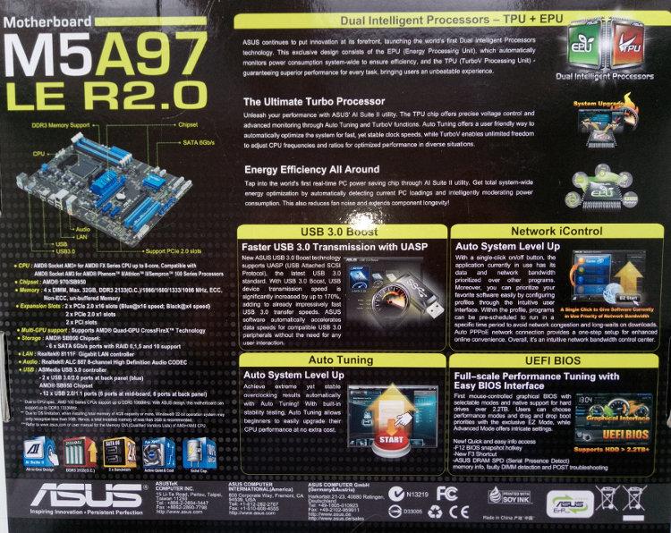 Описания и характеристика ASUS M5A97 LE R2.0