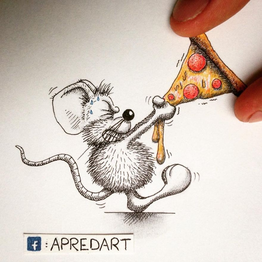 20-My-Pizza-Loïc-Apreda-apredart-Drawings-of-Rikiki-the-Mouse-and-his-Famous-Friends-www-designstack-co