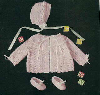 Pink Crochet Baby Set Pattern with Jacket, Bonnet and Booties